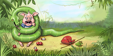 Pig wrapped in snake. Illustration by Dayne Sislen