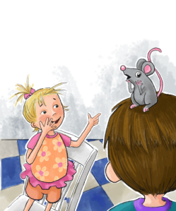 Illus for There's a Mouse on my Head! Illus. by Dayne Sislen
