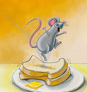 A happy mouse using toast as trampoline