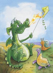 Dragon flying a burning kite
