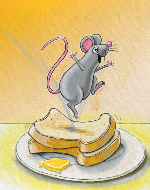 Mouse jumping on bread-trampoline